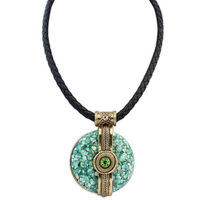 2014 Women Fashion Exotic Vintage Rope Chain Green Resin Round Pendant Statement Necklace Wholesale&Retail Free Shipping#108307