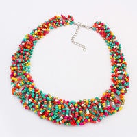 2014 New Fashion Holiday Jewelry Women Bohemian Handmade Multicolor Beads Collar Choker Necklace Wholesale Free Shipping#108323