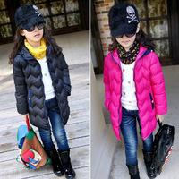 2014 New Children outerwear Fashion Black and Rose Girl's Winter Coat Brand Children Thicken Jacket