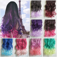 24'' 60cm Fashion Women Gradient Hair Ombre Long Curly Hair Hairpieces Clip in Hair Extensions 5 clips free shipping