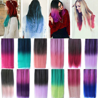 One Piece Colorful Gradient Clip in Hair Extensions Synthetic Human 24inches Long Straight Hair Hairpieces 5 clips free shipping