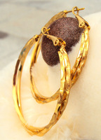 CLEARANCE Large 40mm duplication Bright  Earrings 14k Yellow Gold Filled FREE SHIPPING