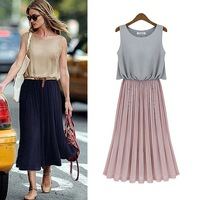 china air express dress for summer wear 2014 summer chiffon dresses sexy vogue sleeveless mid long pleated body fit dress 666