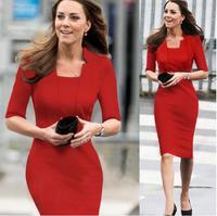 Free shipping! Fashion Autumn women's slim OL half sleeve straight knee-length dresses, 2 cols S008