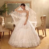 The new 2014 high-end wedding dress Qi Korean retro fashion show thin bride white wedding dress Bra