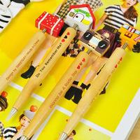 4pcs/lot Korea Stationery Cute Wooden Ballpoint Pen Cartoon Swing Ball Pen School Office Supplies Wholesale