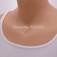 Min 1pc Triangle Necklace, geometric shape necklace,brass pendant XL068