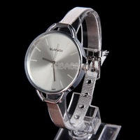 Decent Oversize Wrist Watch with Stainless Steel Narrow Band for Lady White #gib