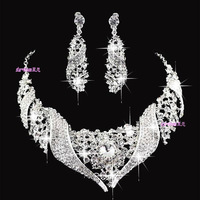 2014 Bridal Jewelry Set  Charm Gorgeous Silver Round Rhinestone Necklace Earring Wedding Accessories New Style 8-38