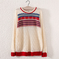 New Women anchor Printed Knitwear Sweater Lady Outerwear Pullover Tops Hollow Out Sweater