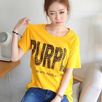 Free shipping Letter print medium-long plus size female loose short-sleeve t-shirt 100% 2014 summer cotton top basic shirt