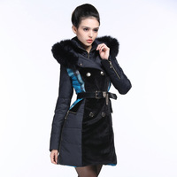 14 European and American Mosaic hit color fur in the long section of cultivating new down jacket fashion fox hair female