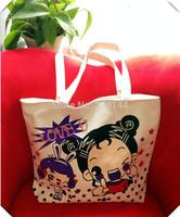 2014 Hot!!! Owl print canvas bag eco-friendly bag casual handbag women's shopping shoulder bag Free shipping