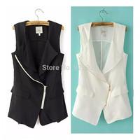 Celebrity Autumn  European Womans Casual Long Sleeveless Waistcoat Jacket Suit Vest Cardigan Black / white free shipping