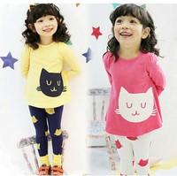 New Autumn Children Girls Clothing Sets Lovely Cat Printed Baby T-shirt+Leggings Fashion Kids Clothes Sets conjunto de roupa
