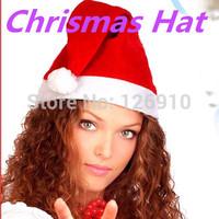 2014 Christmas Decoration Supplies12pcs/lot white and Red Soft Cloth Christmas Cap / Santa Claus Xmas Hat Cap Free Shipping