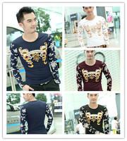 Fast shipping 2014 new Fashion Brand Designer Autumn Men Animal Cotton T Shirts Casual Long Sleeve Print T-shirt size M-3XL