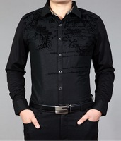 2014 NEW Free shipping men's spring autumn fashion business long sleeve slim fit letters flower pattern design shirt black