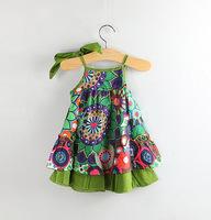 Retail Hot Sale 2014 New arrive Summer Children Clothing Baby Girls wear Clothes Girl gift Dress Kids Condole belt bowknot 1038#