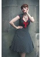 50s Vintage Retro Dress Audrey Hepburn Style Polka Dot Rockabilly Dress with Bow-Tie XS-L