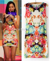 Celebrity Women Floral Print Sexy MINI DRESS Stretchy Sleeveless Bodycon O neck Vest Dresses Party Clubwear S M L