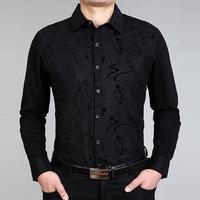 2014 NEW Free shipping men's spring autumn fashion business long sleeve slim fit design shirts black