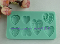 Seven different hearts shape silicone fondant cake decorating tools biscuit styling tools candy forma de silicone free shipping