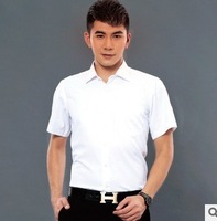 The new short-sleeved shirt Slim men's casual short-sleeved shirt solid color trend men's shirts