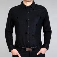 2014 NEW Free shipping men's spring autumn fashion business long sleeve slim fit diamond pattern design shirt black