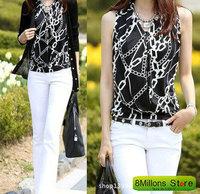 New womens yards sleeveless T-shirt vertical stripes render Tshirt XXXL blusas plus size SDR#12