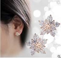 2014 New Vintage Jewelry Korean Style Fashion Crystal Snow Flower  Stud Earrings For Women
