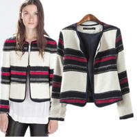 Womens Jackets And Coats Striped Cardigan Jacket O-Neck Long Sleeve Short Outerwear Coats Fall Winter New Fashion Zara2014