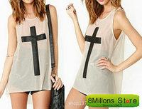 Fashion PU breast cross stitching long sleeveless round collar white gauze perspective loose t female  SDR# 13
