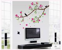 Living room sofa bedroom TV backdrop stickers Five PVC green blooms and birds wall sticker wallpaper