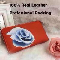 genuine leather women wallet brand 2014 design rose women purses medium-long wallets organizer carteira ladies wallet