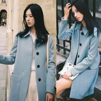 2014 New Women Winter Coat Thick Woollen Blends Warming Keora Style Sky Blue Overcoat Free Shipping A989