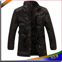 2014 NEW Brand Fur Leather Jackets For Men Coat Fashion Autumn and Winter Coats Casacos Men Jaquetas de couro Men Overcoat