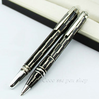 2Pcs Best Design Stationery Crystal Cap Black With Silver Striation Roller Ball Pen / Ballpoint pen