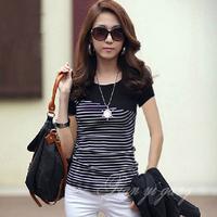 Free shipping 2014 summer short-sleeve T-shirt all-match women's brief slim 100% cotton stripe navy style