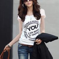 Free shipping 2014 summer short-sleeve T-shirt fashion letter print t-shirt all-match summer short-sleeve women's joker shirts