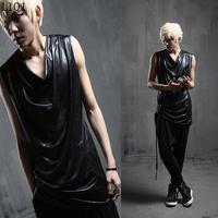 2014 men's hot vest fashion personality black faux leather vest tops