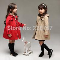FREE SHIPPING New arrival girl child coat hooded windbreaker jacket 100cm-140cm
