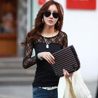Free shipping 2014 autumn lace long-sleeve T-shirt fashion Women women's trend all-match cutout basic shirt