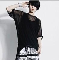 2014 men's fashion t shirt gauze male short-sleeve see through hot sexy t-shirt
