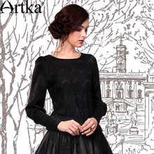 Artka Women's Elizabeth Autumn New Elegant Black Loose Long Sleeve Lace Patchwork  Blouse SA10449C(China (Mainland))