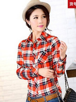 The new long-sleeved plaid shirt female fashion slim women's cool shirt large size women Free Post