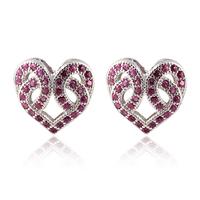 Luxury ladies red black clear AAA+ Swiss CZ diamond cutout heart wedding Stud Earrings christmas gift