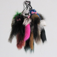 free shipping small fox keychain for mobile fur colors natural fox fur