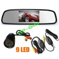 "4.3"" LCD Mirror Monitor + Wireless 9 IR LED Reversing Camera Car Rear View Kit Waterproof Free Shipping"