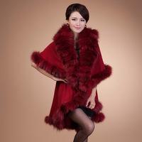 Fashion Genuine Fox Fur Wrap Warm Winter Outwear Knitting Preinting Women Coat Free Size W001